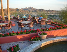 A bright afternoon at A Different Point of View, a Phoenix restaurant at the top of the Pointe Hilton Tapatio Cliffs Resort.