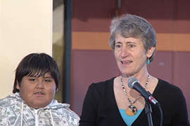 U.S. Interior Secretary Sally Jewell addresses students during a visit Monday to Salt River Elementary School in the Valley.