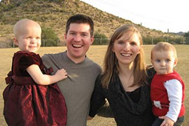Maggie, Tim, Anna and Eli Jacks, from left. Maggie's leukemia and Eli's age mean they cannot be fully vaccinated against measles and are now at risk.