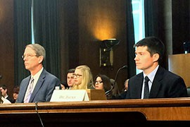Gilbert pediatrician Tim Jacks, right, testified at a Senate committee hearing on vaccine-preventable diseases that,