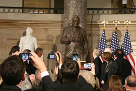They came from both sides of the aisle and both sides of the Capitol to praise the man alternately known as Mr. Arizona and Mr. Conservative. Cronkite News reporter <b>Nihal Krishan</b> is in Washington for the unveiling for former Arizona Sen. Barry Goldwater's statue in the U.S. Capitol.