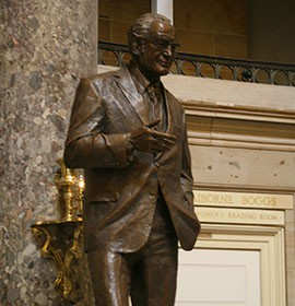 A statue of former Arizona Sen. Barry Goldwater, a one-time presidential nominee, takes its place in the U.S. Capitol, where Goldwater served 30 years.