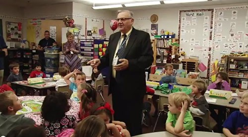 Arpaio joined state Senator Jeff Dial and Representative Brenda Barton in promoting the benefits of all-day kindergarten. Arizona does not require full day kindergarten but supporters say longer school days are critical for developing young minds. Video by Mariah Ellis.