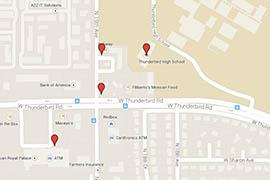 A interactive map of smoke shops near Thunderbird High School in Phoenix.