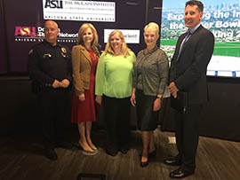 Attending Monday's release of Arizona State University sex-trafficking search are, from left: Lt. Jim Gallagher, Phoenix Police Department; Debbie Moak, director of the .Governor's Office for Children, Youth and Families; Dominique Roe-Sepowitz, director of ASU's Office of Sex Trafficking Intervention Research; Cindy McCain; and George Stewart, FBI special agent.