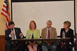 Taking part in a panel discussion Tuesday organized by the Arizona School Boards Association and Arizona Coalition for Quality Education are, from left: Sen. David Bradley, D-Tucson; Rep. Heather Carter, R-Cave Creek; Rep. Doug Coleman, R-Apache Junction; and Rep. Kate Brophy McGee, R-Phoenix.