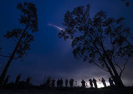 A United Launch Alliance Delta II rocket with the Soil Moisture Active Passive (SMAP) observatory onboard is seen in this long exposure photograph as it launches from Vandenberg Air Force Base in California on Jan. 31.