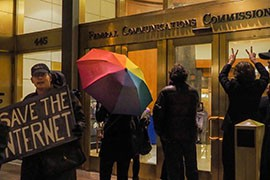 Protesters in support of net neutrality rallly outside the Federal Communications Commission Washington headquarters in November.