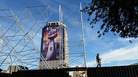 The large XLIX display from Super Bowl Central is being taken down.