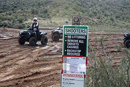 Despite signs spelling out the rules for target-shooting at Table Mesa Recreation Area, many shooters ignore them and litter the desert.