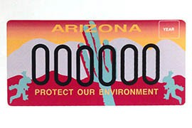 Arizona's special license plate supporting environmental causes as it exists now.