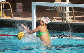Redshirt junior E.B. Keeve is the starting goalie for the Arizona State University women's water polo team.