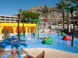 """The Phoenician in 2014 introduced SURGE, an interactive """"spray ground"""" for children and their parents. It's located on the upper west level of the Oasis Pool Complex, a 5,000 square-foot venue."""