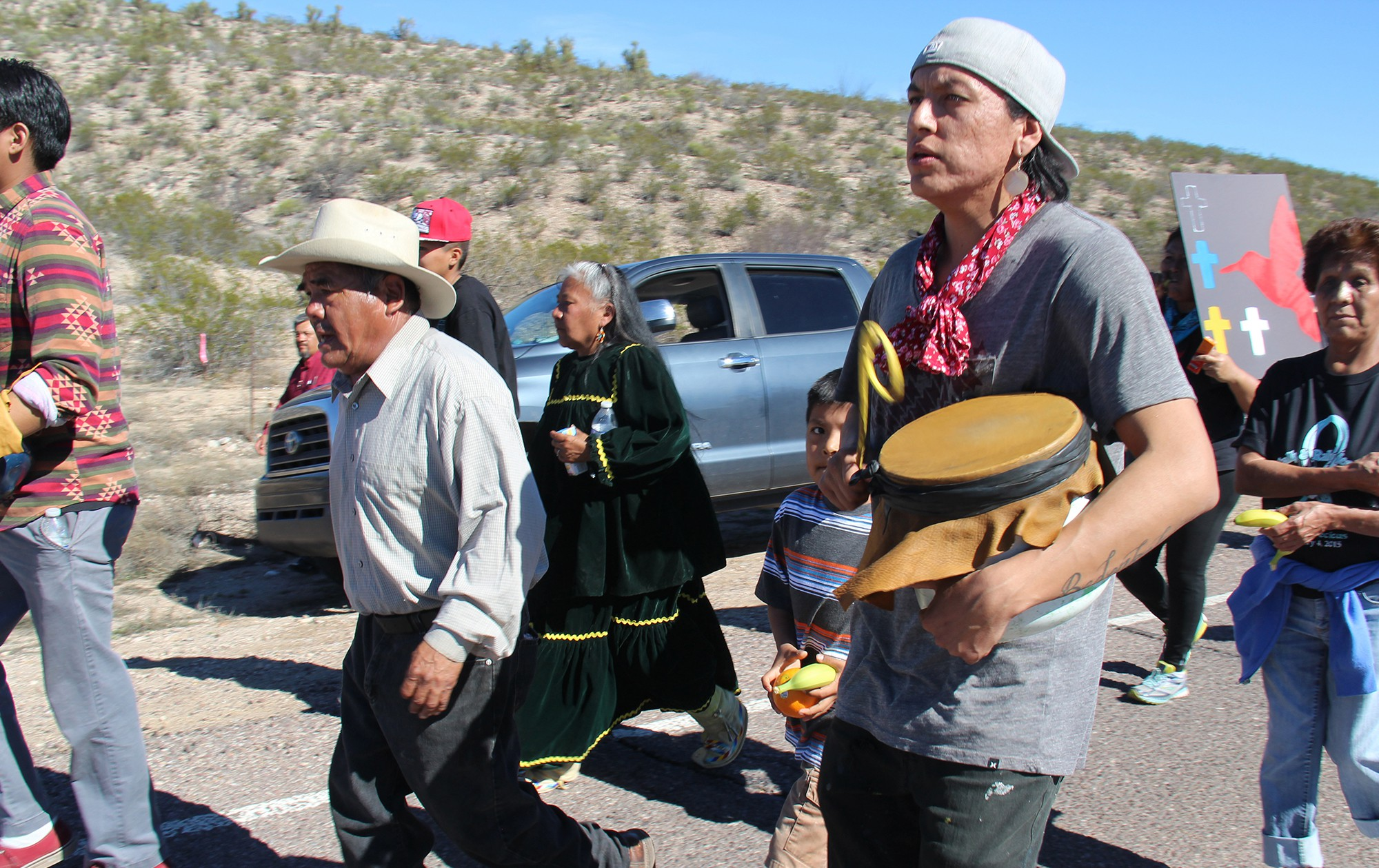 """The young and old participated in a 44-mile journey from the San Carlos Apache Tribe's office to Oak Flat campground where some plan on occupying the area for """"as long as it takes,"""" organizer Vernelda Grant said."""