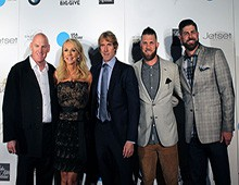 Former Diamondback Matt Williams and his wife, Erika, pose with director Michael Bay, and MLB players Bryce Harper and Bryan Harper at The Giving Back Fund's Big Game Big Give.