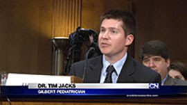 Gilbert pediatrician Tim Jacks was in Washington Tuesday to testify on the importance of vaccination, but he told senators that he was there not as a doctor but as a father.