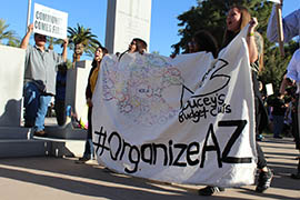 Students demonstrate against cuts to education funding on March 5, 2015, outside the State Capitol.