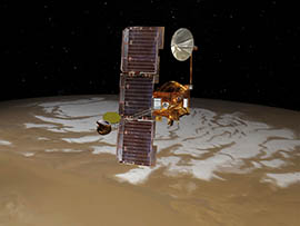 An artist's rendering shows the Odyssey spacecraft orbiting Mars. Among its equipment is a camera designed and monitored by Arizona State University.