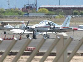 A plane sits at Glendale Municipal Airport.