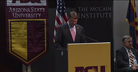 The U.S Secretary of Defense Ashton Carter spoke about national defense at Arizona State University before making his first official trip to Asia.