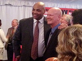 Charles Barkley interacts with fans at his Arizona Sports Hall of Fame induction.