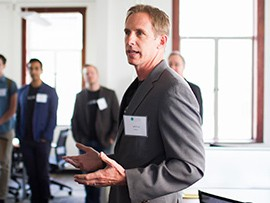 Jeffrey Pruitt, CEO of Tallwave, announced the five startup companies selected for its High Tide training program on April 8.