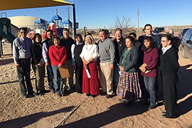 Members of a House Appropriations subcommittee overseeing the relocation office visit Little Singer Community School on the Navajo Nation during a January site visit.