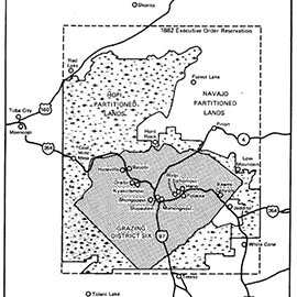 Disputed areas of the tribal lands and how they were ordered partitioned by a court in 1962, when residents were ordered off lands that did not belong to their tribes.