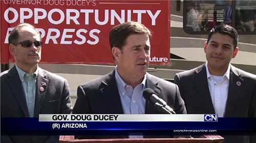 Gov. Doug Ducey boarded an RV dubbed the