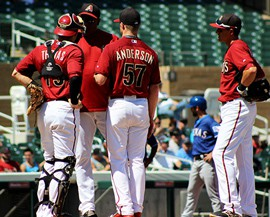 Meetings like this on the mound in spring training are parts of the game Major League Baseball is trying to cut down with the new pace of play rules.