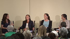 Gayle Tzemach Lemmon, left, author of a bootk on Cultural Support Teams that put women like the Army's Janiece Marquez, Army Sgt. 1st Class Meghan Malloy and Air Force Capt. Annie Kleiman, from left, on the front lines.