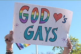 Some tempers flared, but most of the protest outside the Supreme Court was peaceful, with many supporters of same-sex marriage adopting a religious arguments for their case.