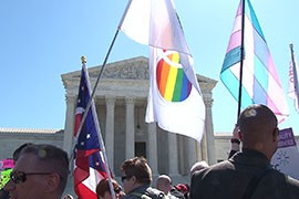 Hundreds of protesters - including at least three from Arizona - turned out to make their opinions heard as the Supreme Court considered whether states can ban same-sex marriages. Protestors on both sides of the issue turned out, but supporters of same-sex marriage heavily outnumbered opponents.