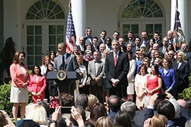 President Barack Obama, in a Rose Garden ceremony honoring the nation's top teachers, said they deserve