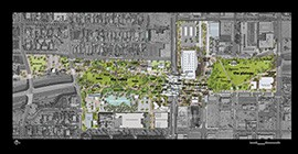 The plan for the Hance Park redesign will divide the park by the valley, the plateau and the plaza, home to the wall.