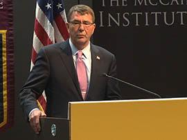 U.S. Defense Secretary Ashton Carter speaks Monday, April 6, at Arizona State University about his trip this week to Japan and South Korea.