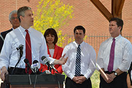 U.S. Secretary of Education Arne Duncan speaks at a news conference in Phoenix on a visit in which he toured an inner-city school district's early childhood education center and met with state and local officials.