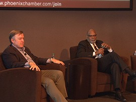 Arizona State University President Michael Crow and Rufus Glasper, chancellor at the Maricopa County Community College District, called on members of the business community to use their networks to start a conversation about higher education funding.