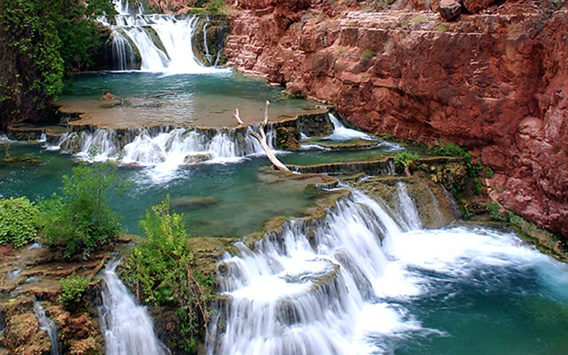 The Arizona region that includes Apache, Coconino and Navajo counties had 7.1 million domestic visitors in 2013. Havasu Falls is a popular site within the Grand Canyon.