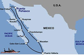 The proposed destinations are shown along the cruise ship's route.