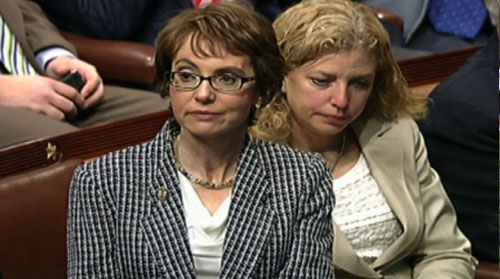 Rep. Gabrielle Giffords, D-Tucson, joined in an emotional farewell in Washington. Making her final appearance as a congresswomen, she cast a vote in support of her bill and handed in an official letter of resignation. Alex Reese reports.