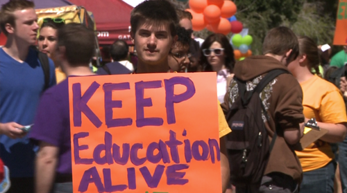Cronkite News reports on students around the state protesting tuition hikes, and follows up on the controversial letter read on the state senate floor.